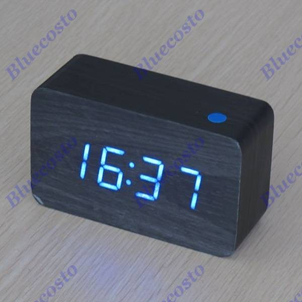 ... Wooden Wood USB / Battery Powered Digital LED Alarm Clock Thermometer
