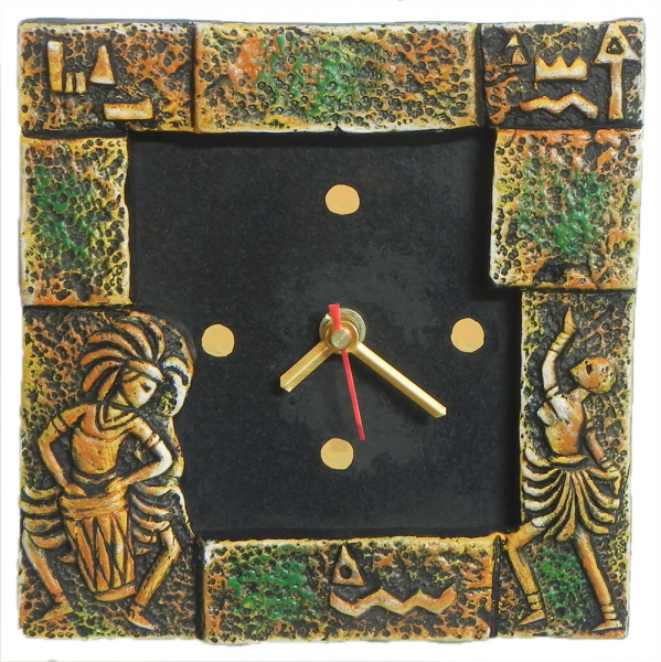 Battery Operated Square Table Clock in a Terracotta Plate with Tribal ...