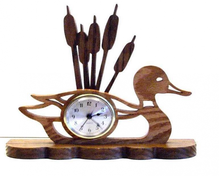 Desk Clock Wood Duck Cattails Figural Battery Operated - Other