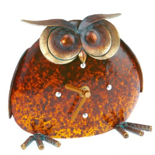... Whimsical Decorative Owl Metal and Glass Battery Operated Desk Clock