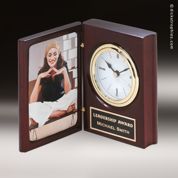 desk gift mahogany gold accented book clock award mahogany finish