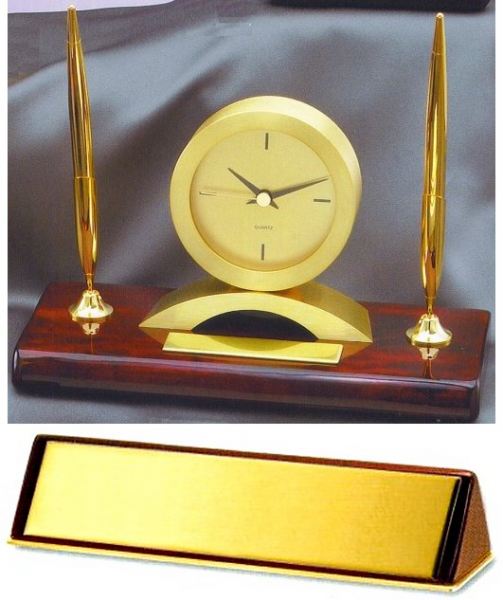Mahogany Desk Clock & Pen Set from the Marco Awards Group at Theisen ...