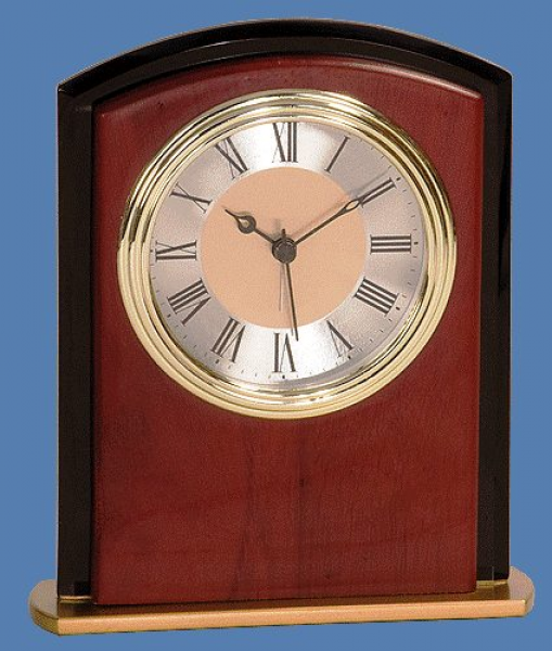 desk top clocks feature beautiful mahogany finish, gold trim clock ...