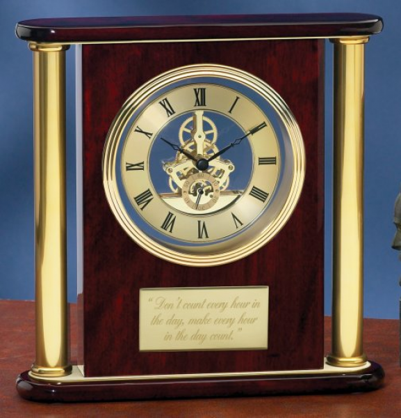 Skeleton Clock: Mahogany & Gold Visible Gear Skeleton Clock