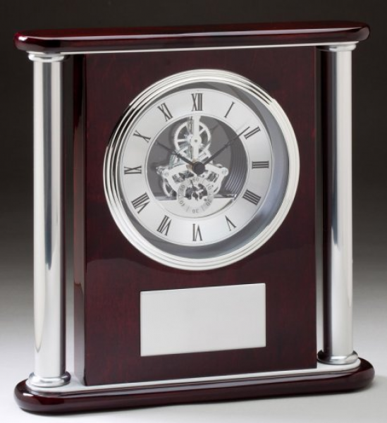 Skeleton Clock: Mahogany & Silver Visible Gear Skeleton Clock