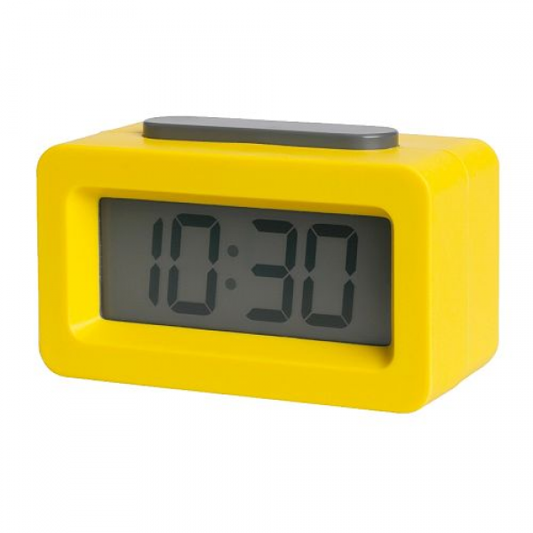 first off this small battery operated brick shaped clock is