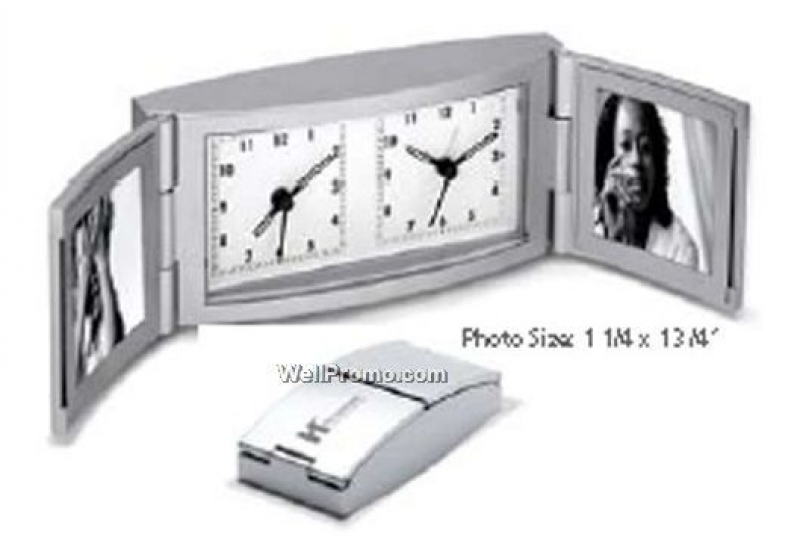 Metal Dual Photo/ Dual Time Alarm Clock