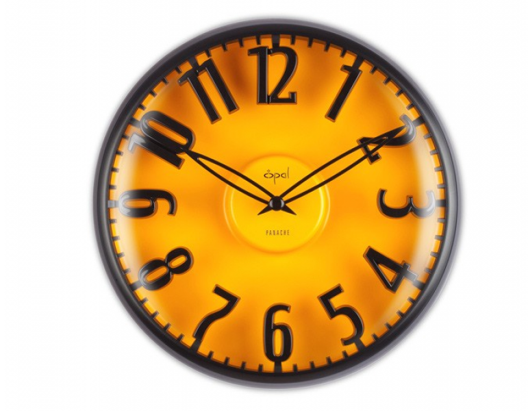 Opal Black Metal Case Yellow Dial Floating Figures Clock