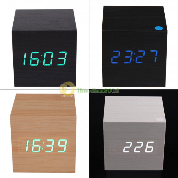 Modern Digital LED Wooden Wood Desk Alarm Clock Voice Control ...
