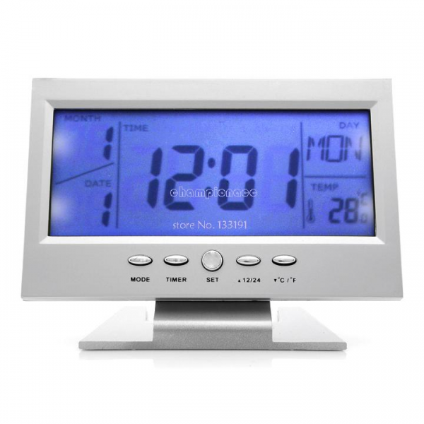 World Time Modern Digital Sound control LCD LED Backlight Snooze Desk ...