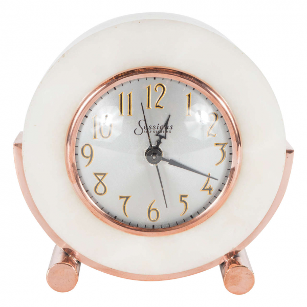 ... Art Deco Exotic Onyx and Copper Electric Desk Clock at 1stdibs