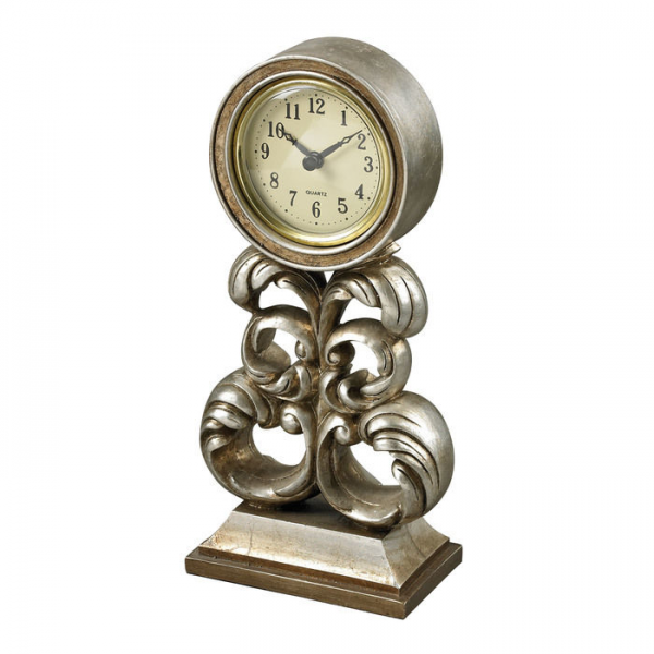 NEW Antique Silver Finish Desk Clock by Sterling