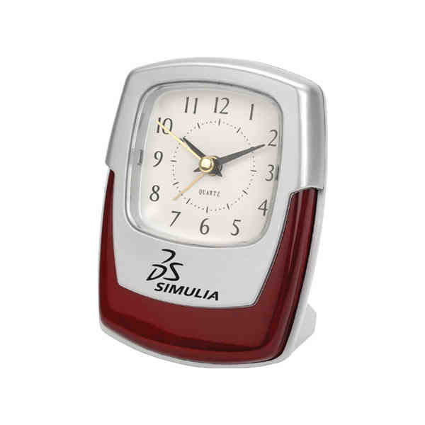 Promotional Silver And Wood Desk Clock With High Gloss Finish Wood