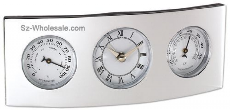 Silver Finish Desk Clock with thermometer hygrometer