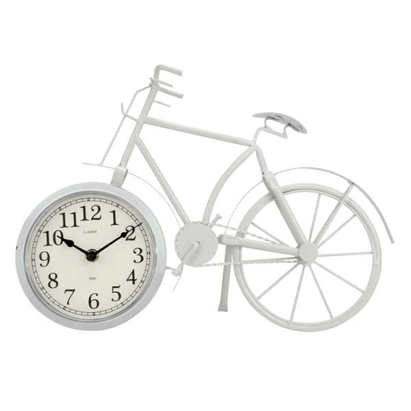 WHITE Bicycle Table Clock – Metal