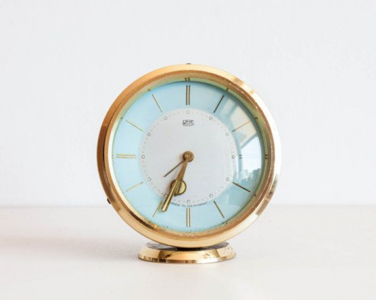 Vintage German Alarm Clock, UMF Ruhla Desk Clock, Gold and Mint Blue ...