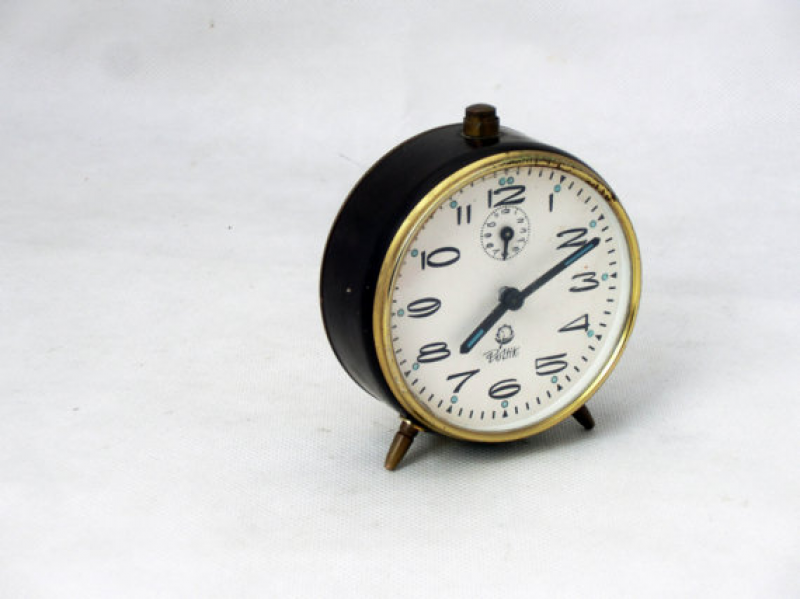 ... alarm clock brown / chocolate / gold, 70s clock Poltik, Desk Clock