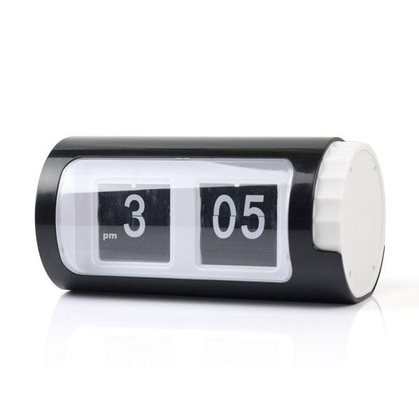 Home » Auto Flip Clock Cylindrical Retro Black & White Desktop Table ...