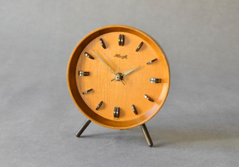 Vintage German wooden Kienzle desk clock table clock Mid-Century ...