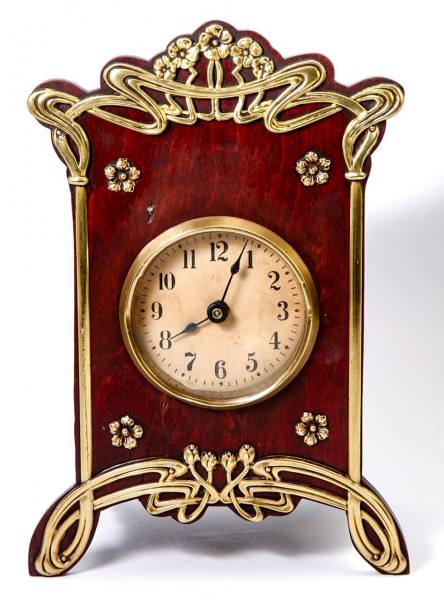Antique French Art Nouveau Desk or Mantel Clock, Wood & Polished Brass ...