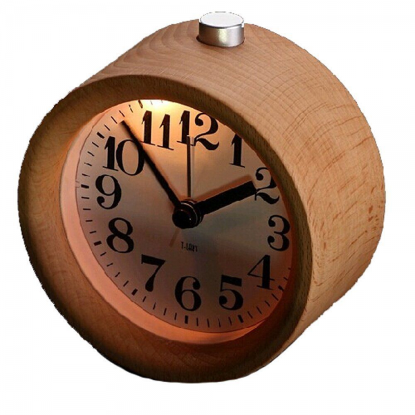 Small Round Classic Wooden Silent Desk Travel Alarm Clock with ...