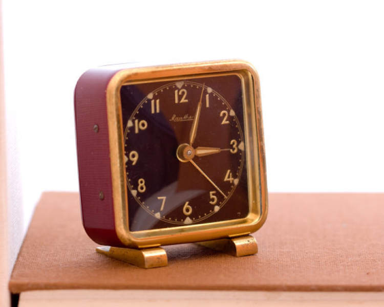 German Alarm Clock, Small Square Desk Alarm Clock, German Mauthe Clock ...