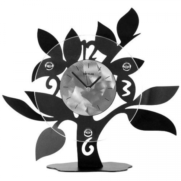 Ashton Sutton table clock has a metal case with a tree shaped design ...