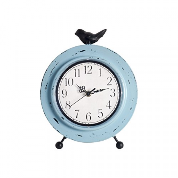 Ashton Sutton Table Clock with Aqua Finish Metal Case with Bird ...