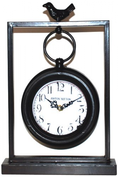 ASHTON SUTTON GT1030 METAL TABLE CLOCK WITH BIRD
