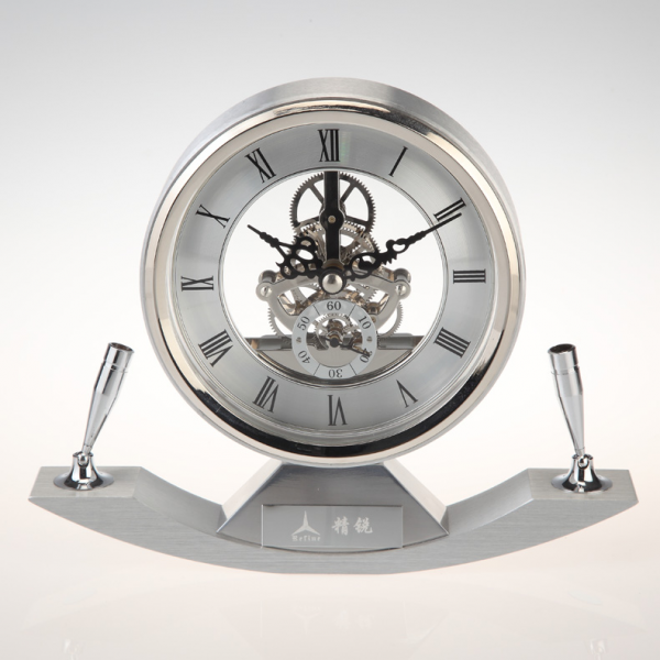 Metal skeleton table Clock with Brass movement with pen holder K3037