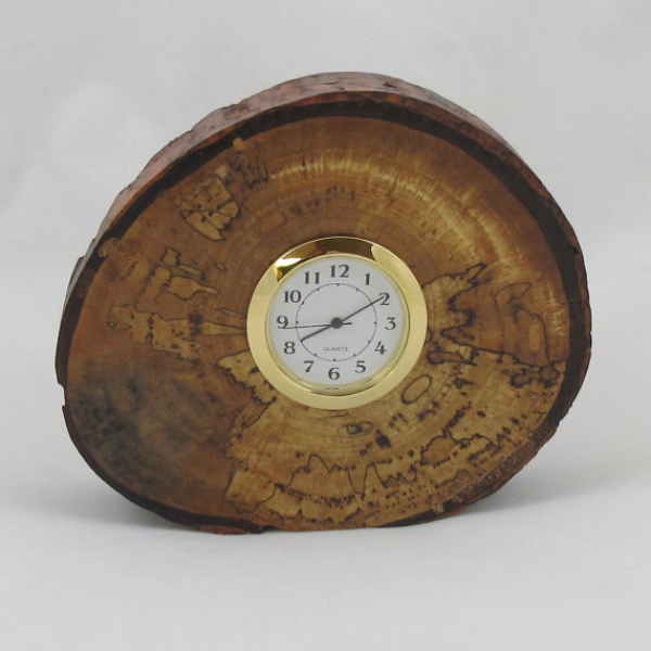 Wood Desk Clock Spalted Pecan with Natural Bark by RicksWoodArt