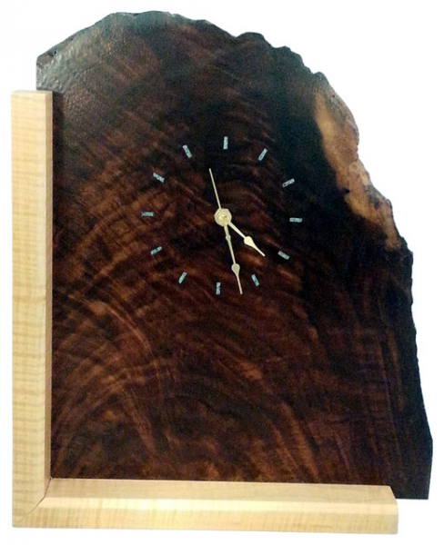 ... Wood Mantel Clock with Turquoise Inlay rustic-desk-and-mantel-clocks