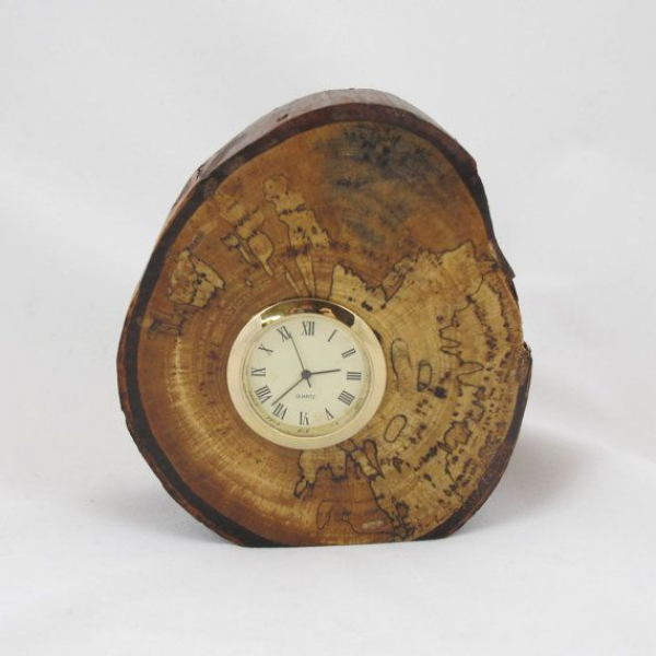 Wood Desk Clock Spalted Pecan with Natural Bark by RicksWoodArt, $25 ...