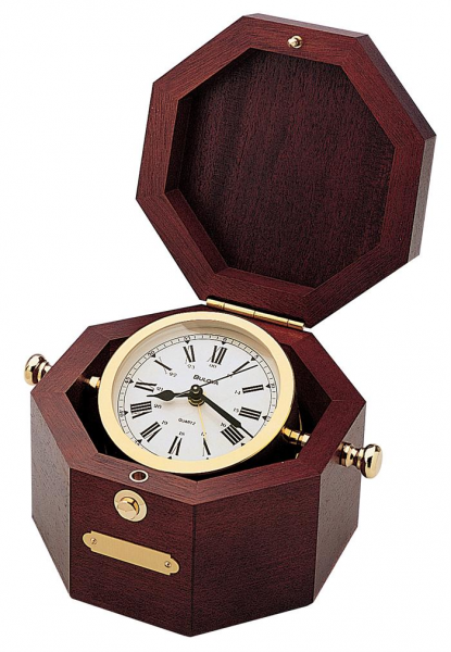 Bulova Quartermaster Wood/Brass Table Alarm Clock - Nautical Decor ...