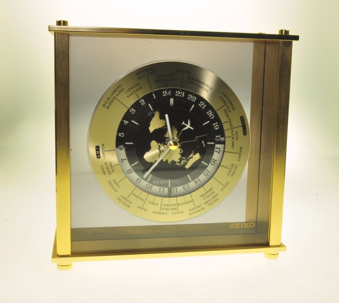 Vintage Seiko World Time Mantle Desk Clock Airplane Brass QQZ885A ...