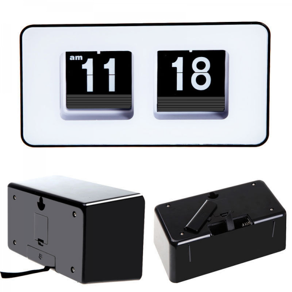 Simple Modern Retro Auto Flip Desk Wall Clock Black Used in Home ...