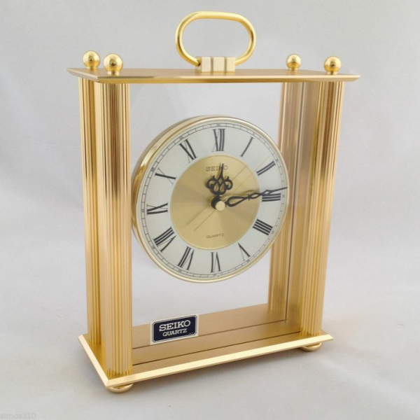 Seiko Quartz Mantel Carriage Shelf Desk Clock Roman Pillar Goldtone ...