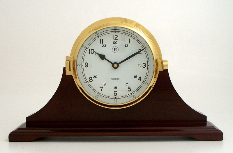 Brass Bell Striking Table Clock on Mahogany Wood Base