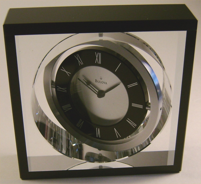 Bulova B9860 Orion Executive Desk Clock Pivoting Crystal Black, Sharon ...