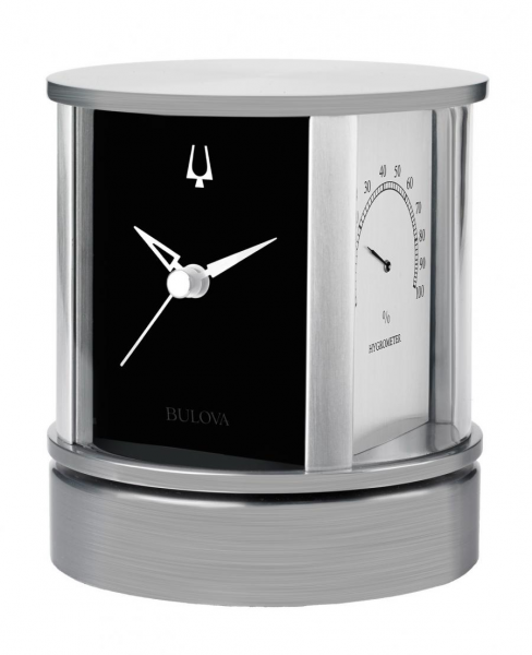 Clockway: Bulova Rotating Executive Desk Clock Weather Station Solid ...