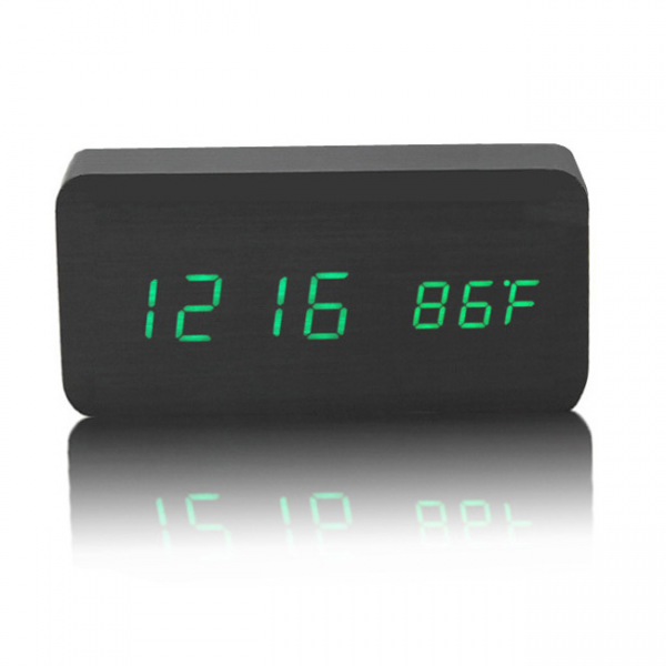 Wooden LED Display Digital Sound Controlled Alarm Clock Table Clock ...