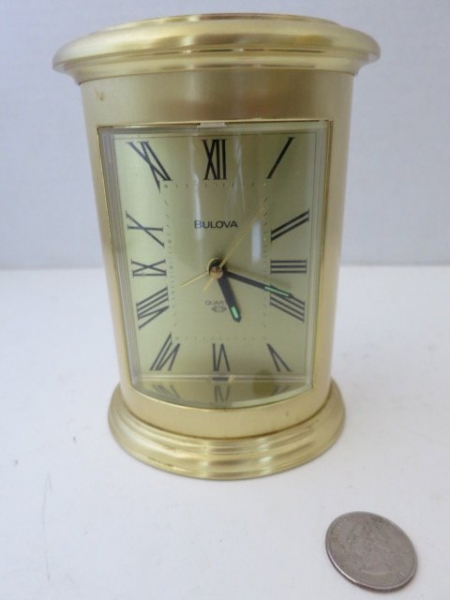 248: BULOVA BRASS DESK CLOCK, NO. 4RE720 : Lot 248