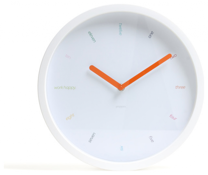 Wall Clock, White - Modern - Clocks