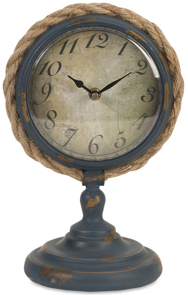Wrought Iron Metal Pedestal Clock Nautical Jute Rope Industrial Retro ...