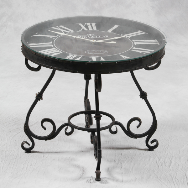 Antiqued Industrial Glass & Iron Base Clock Table