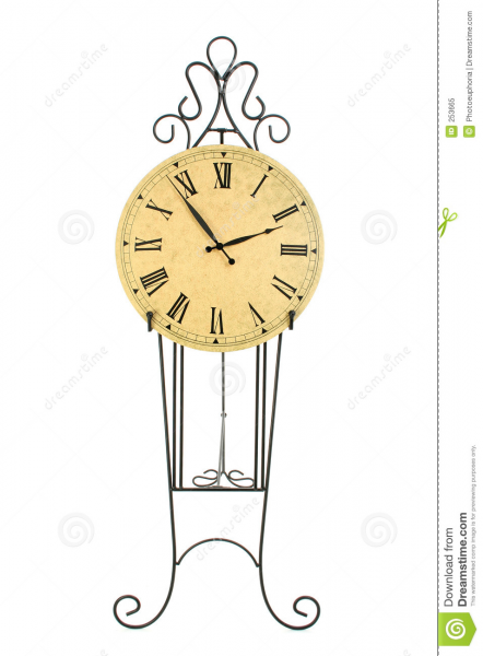 Clock On Black Iron Pedestal Royalty Free Stock Photo - Image: 253665