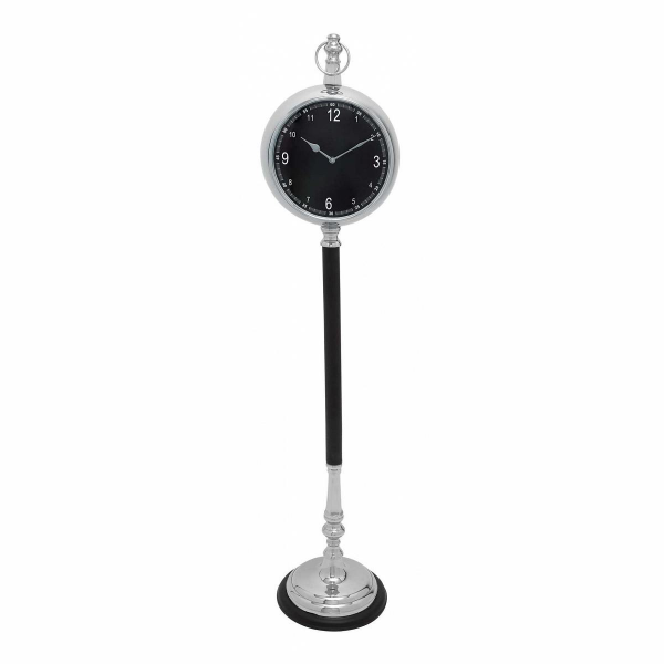 Metal Floor Clock with Black Leather Covered Pedestal Stand - Join the ...