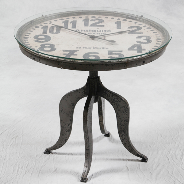 Antiqued Industrial Glass & Metal Base Paris Clock Table