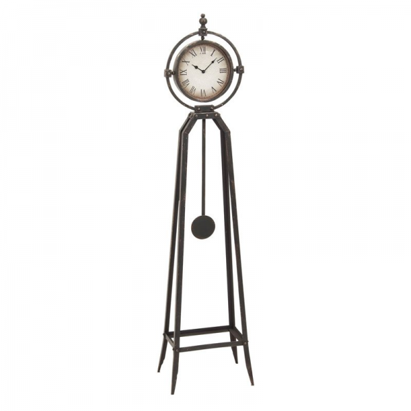 Home Accents Rustic Metal Floor Clock with Pendulum - Floor Clocks ...