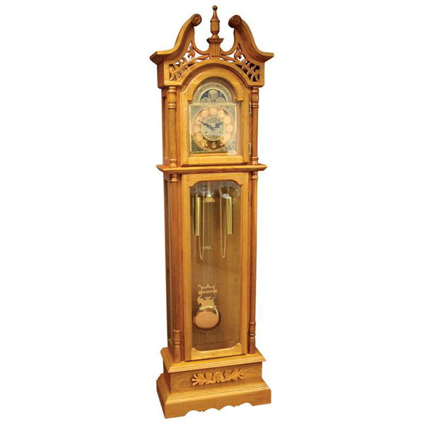Details about Edward Meyer Oak Grandfather Clock with Beveled Glass ...